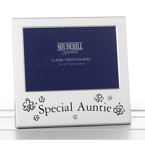 Satin Silver Occasion Frame Special Auntie 5x3
