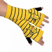 Pokemon Unisex Pikachu Striped Fingerless Yellow Gloves