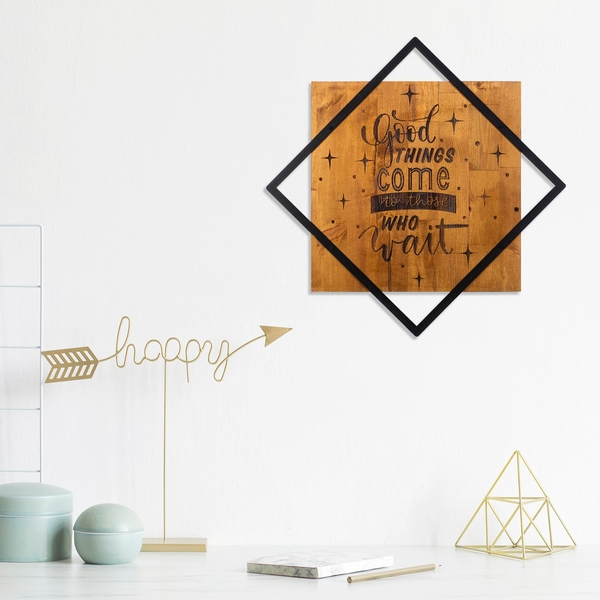 Good Things Come To Those Who Wait Walnut Black Decorative Wooden Wall Accessory