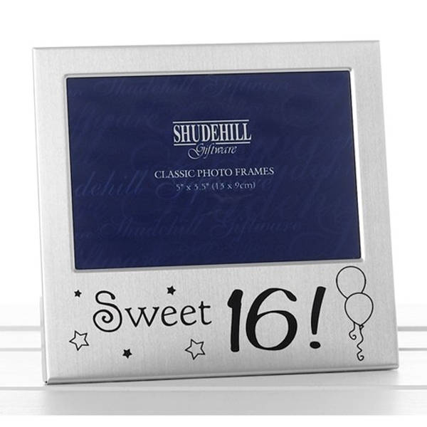 Satin Silver Occasion Frame Sweet Sixteen 3x5