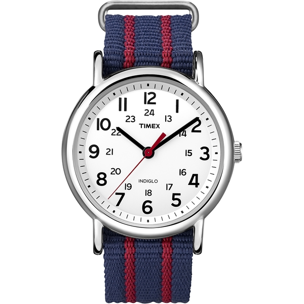 Timex T2N747 Unisex Weekender Watch with Blue/Red Fabric Strap