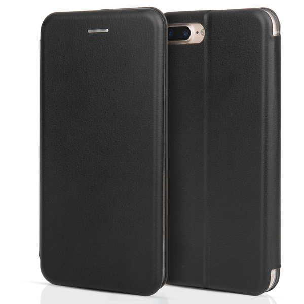 Apple iPhone 7 Plus PU Leather Stand Wallet with Felt Lining/ID Slots - Black