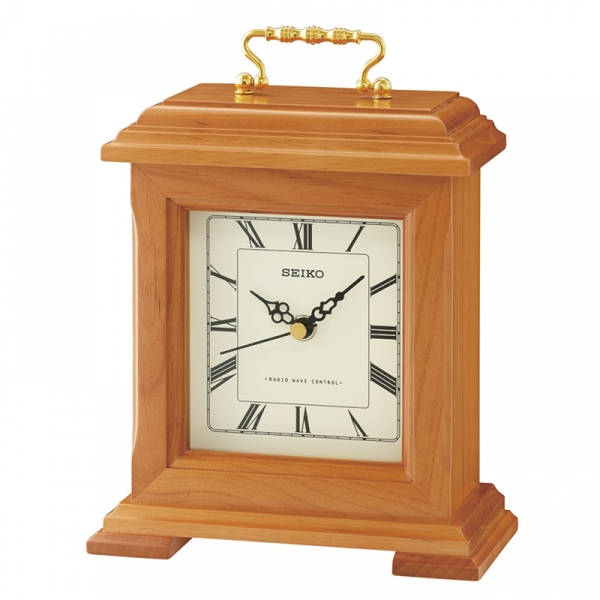 Seiko QXR304B Radio Controlled Wooden Mantel Clock Light Brown