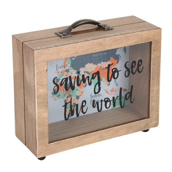 Saving to See The World Map Print Money Box