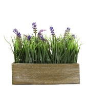 Faux Lavender and Onion Grass in Rustic Wooden Box