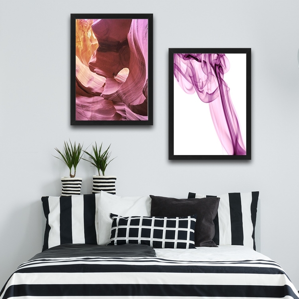 Soft Pink Set Multicolor Decorative Framed Painting (2 Pieces)