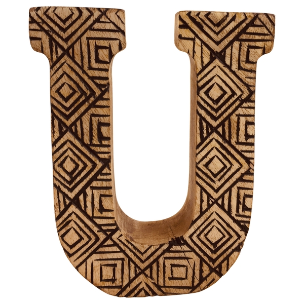 Letter U Hand Carved Wooden Geometric