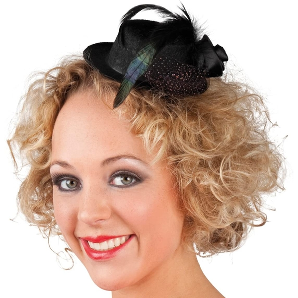 Mini Hat Cylinder With feathers And Flowers (Black)