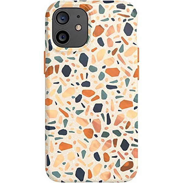 tech21 EcoArt Terazzo Orange for Apple iPhone iPhone 12 and 12 Pro 5G - Fully Biodegradable Phone Case with 3 Meter Drop Protection