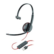 Plantronics Blackwire C3210 Mono Headset with USB-A Connection, Noise Cancelling, Soundguard and Flexible Microphone Arm - Black
