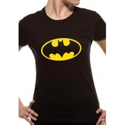 Batman Logo DC Essentials Range Womens T-Shirt Medium - Black