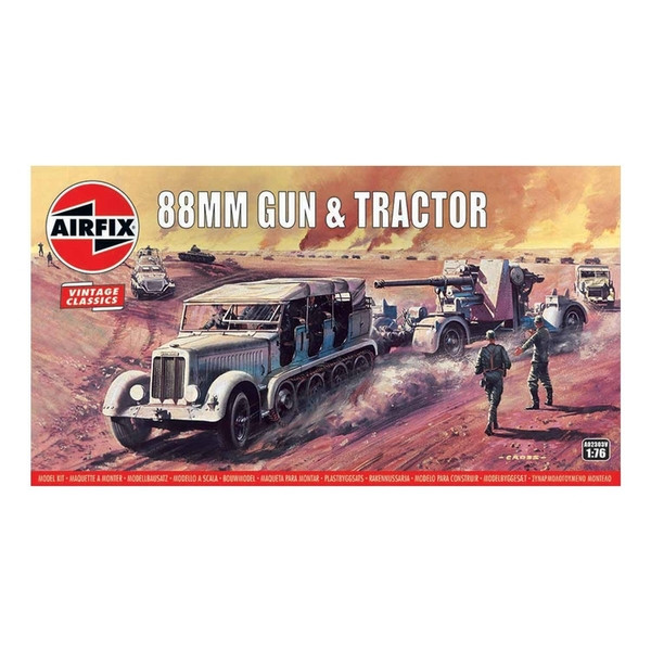 88mm Gun & Tractor 1:76 Vintage Classic Military Air Fix Model Kit