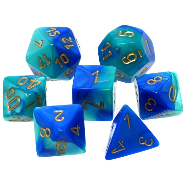 Chessex Gemini Poly 7 Dice Set: Blue-Teal/Gold