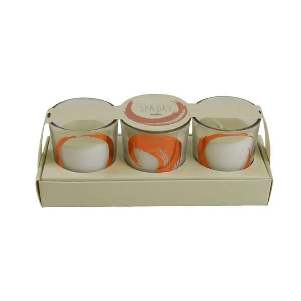 Candlelight Spa Day Restore (Set of 3) Glass Wax Filled Pots Aloe Vera & Cucumber Scent