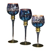 Set of 3 Blue Mercury Glass Goblet Candle Holders