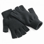 Charcoal Heritage Knitted Fingerless Gloves S/M ZT
