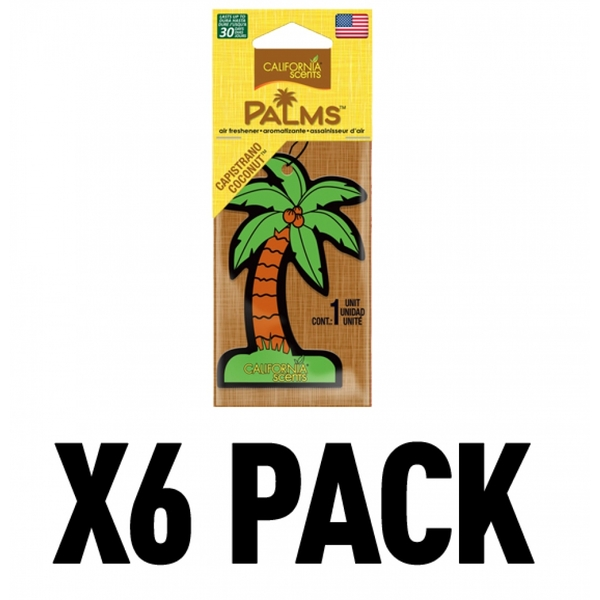 (6 Pack) California Scents Palms Hang-Outs Capistrano Coconut Car/Home Air Freshener