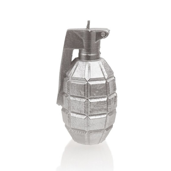 Silver Large Grenade Candle