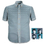 The Beatles 1967 Heads Blue S/Sleeve Casual Shirt: Medium