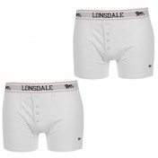 Lonsdale 2 Pack Boxers Mens White Medium