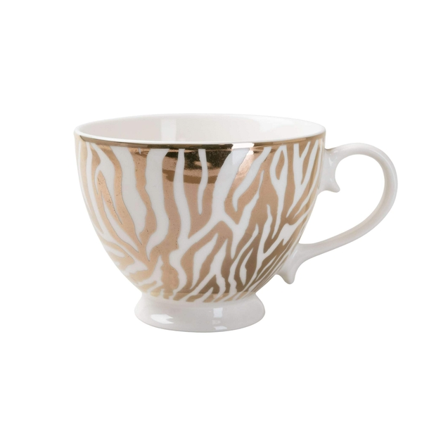 Animal Luxe Footed Mug Zebra Print Gold