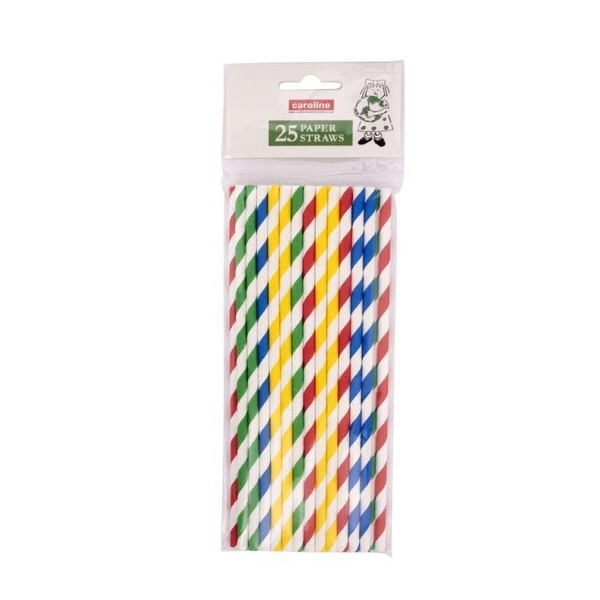 Castleview Multi Colour Striped Paper Straws Pack 25