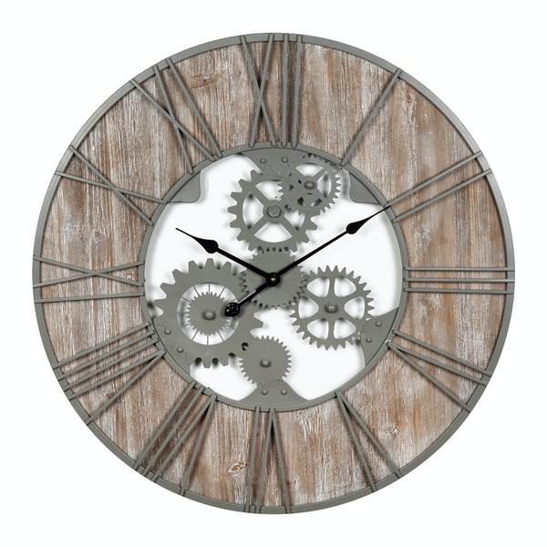 HOMETIME Large Round Metal and Wood Wall Clock 80cm