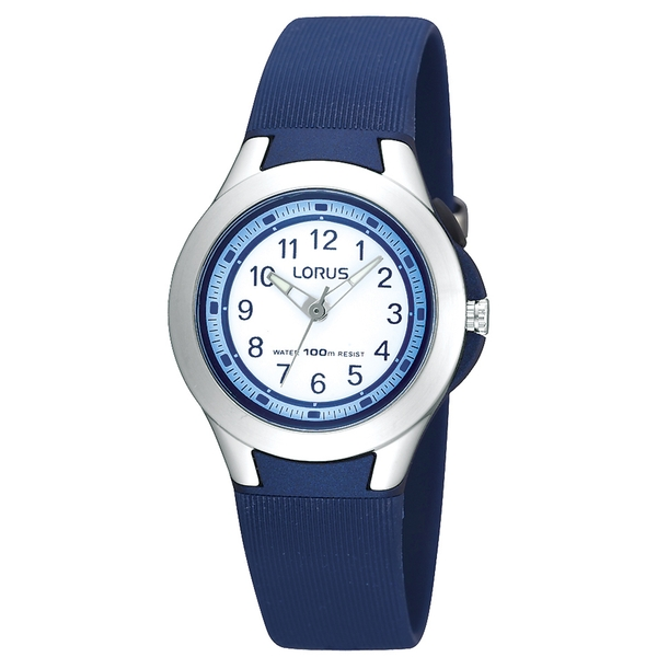 Lorus R2307FX9 Youths Soft Navy Blue Polyurethane Strap Watch with Stainless Steel Bezel