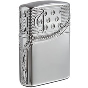 Zippo Unisex's Zipper Design High Polish Chrome Windproof Lighter