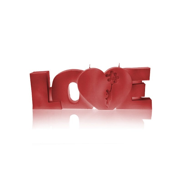 Red Big Love Sign Candle