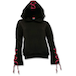 Gothic Elegance Red Ribbon Gothic Women's Small Hoodie - Black - Image 2