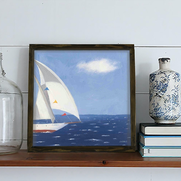 KZM441 Brown Blue White Red Decorative Framed MDF Painting