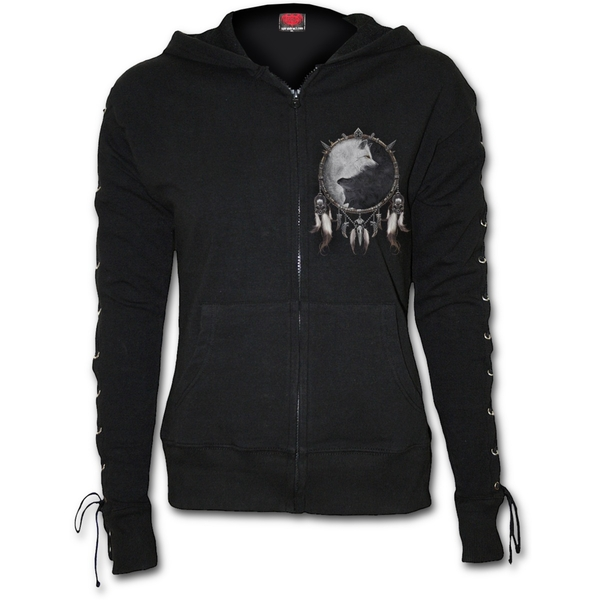Wolf Chi Laceup Full Zip Glitter Women's XX-Large Hoodie - Black - Image 1