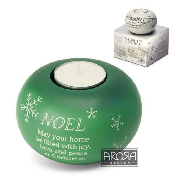 Noel - Arora Said with Sentiments Green Tealight Holder