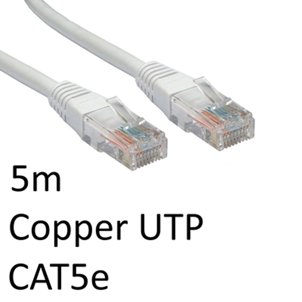RJ45 (M) to RJ45 (M) CAT5e 5m White OEM Moulded Boot Copper UTP Network Cable