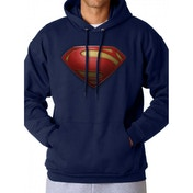 Superman Man Of Steel - Textured Logo Men's Small Hoodie - Blue