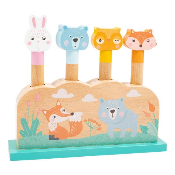 LEGLER Small Foot Children's Forest Animal Pastel Colours Plug-in Shape Fitting Game