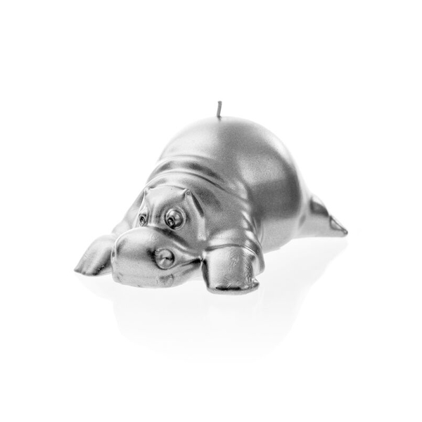 Silver Hippo Candle