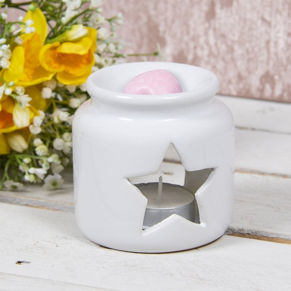 Ceramic White Star Wax Oil Warmer By Lesser & Pavey | 8cm