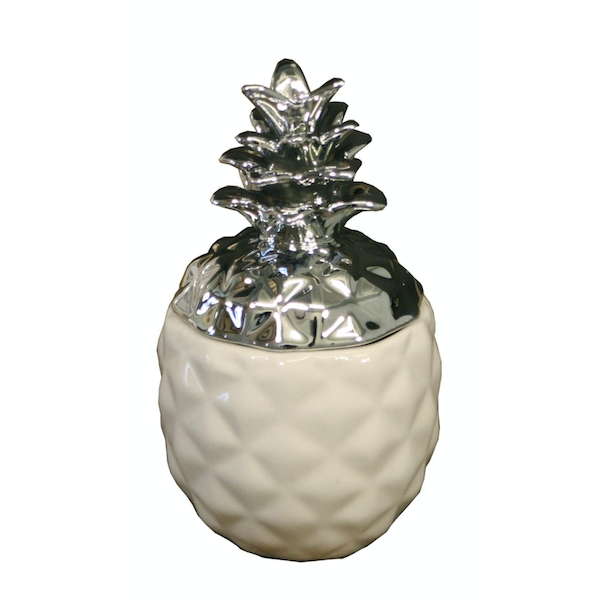 Small White And Silver Pineapple Trinket Pot