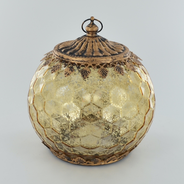 LED Lantern Gold Geometric H17cm