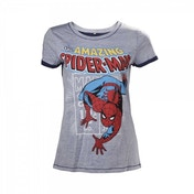 Marvel Comics Spider-Man Adult Female Crawling X-Large T-Shirt - Grey