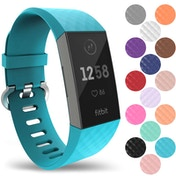 YouSave Silicone Strap - Large - Cyan compatible with Fitbit Charge 3