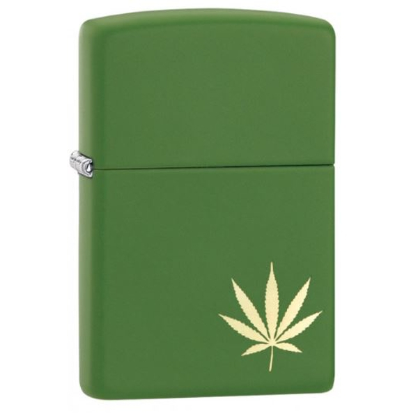 Zippo Marijuana Leaf on the Side Moss Green Matte Finish Windprrof Lighter