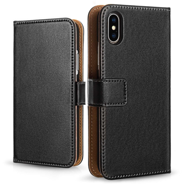Apple iPhone X Leather Wallet Case - Black (Retail Box) - Image 1