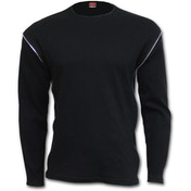 Gothic Rock Zip Side Ribbed Gothic Men's X-Large Long Sleeve T-Shirt - Black