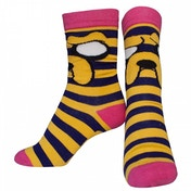 Adventure Time Female Jake with Striped Pattern Crew Socks 38/41