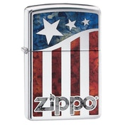 Zippo US Flag High Polish Chrome Regular Lighter