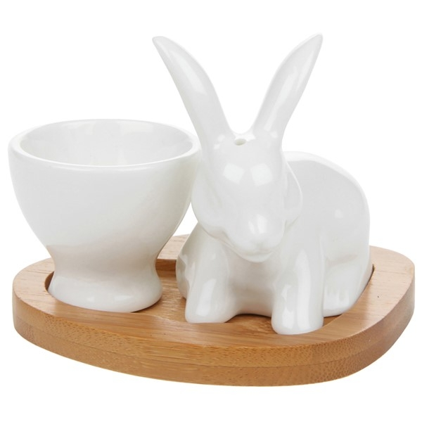 White Bamboo Egg Cup Bunny