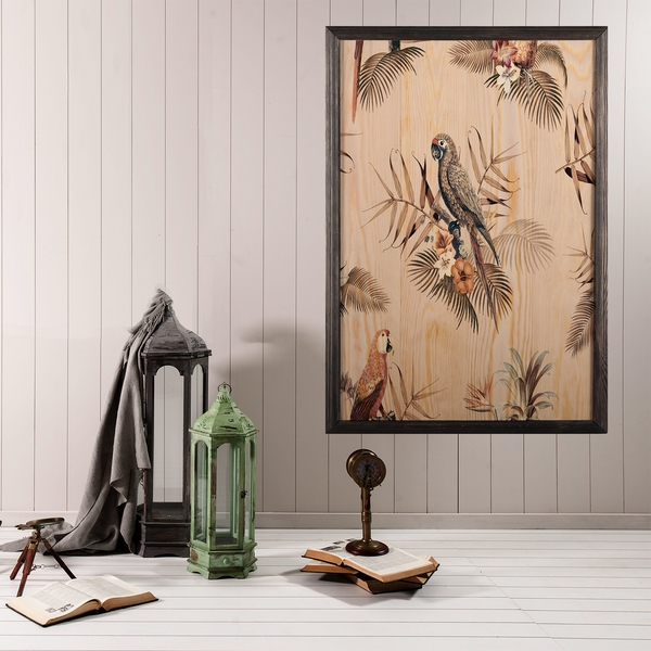 Bird Heaven Multicolor Decorative Framed Wooden Painting